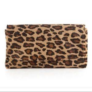 NWT Lauren Merkin Leopard Calf Hair Clutch